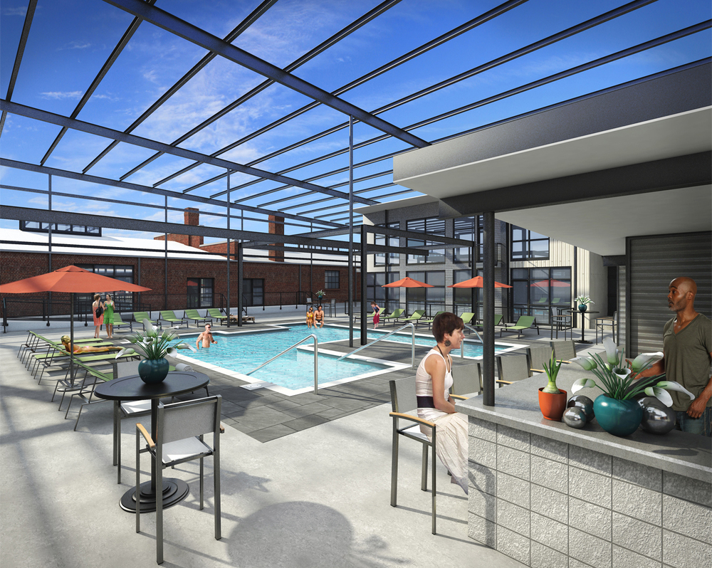 Project: Scott's Edge Apartments                    Architect:  Walter Parks Architects                     View: pool area