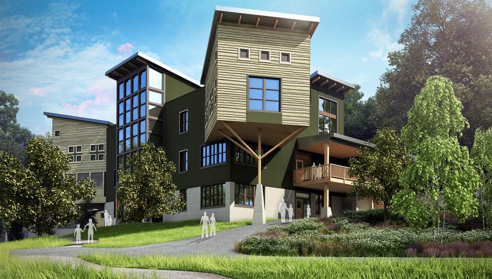 Project: Nature Lodge Complex          Architect:  m2 Architecture  &  Re:Vision Architecture          View: pedestrian view 02