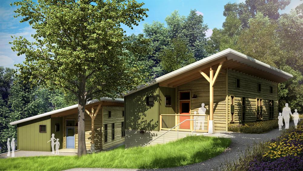 Project: Nature Lodge Complex          Architect:  m2 Architecture  &  Re:Vision Architecture          View: pedestrian view 03