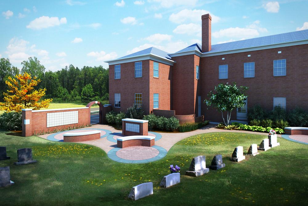 Project: Mt. Pisgah Church Memorial Garden          Designer:  Four Winds Design - Landscape Architecture          View: exterior 01