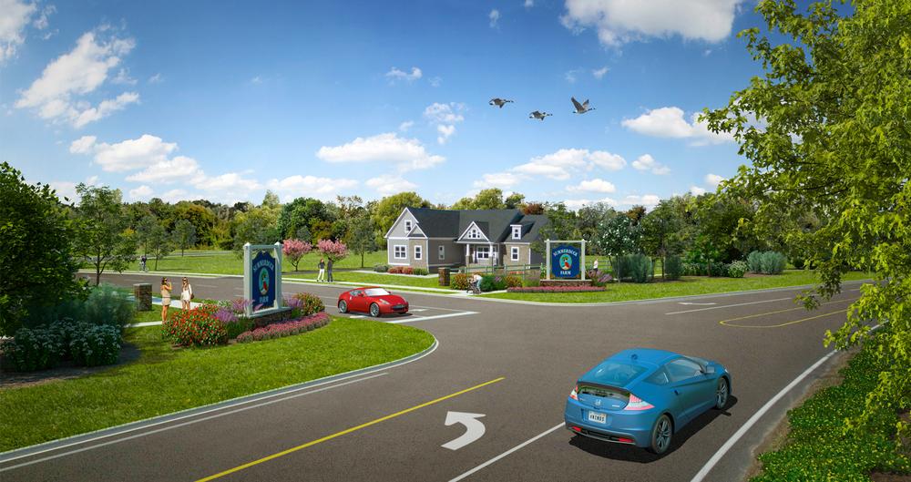 Project: Summerduck Farm          Designer:  Four Winds Design - Landscape Architecture           View: exterior 01 - neighborhood entrance
