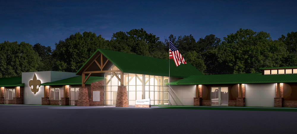 Project: Boy Scouts of America: Buckskin Council                    Designer: Aric Margolis Architecture &  Pray Construction                    View: exterior 01 - night shot
