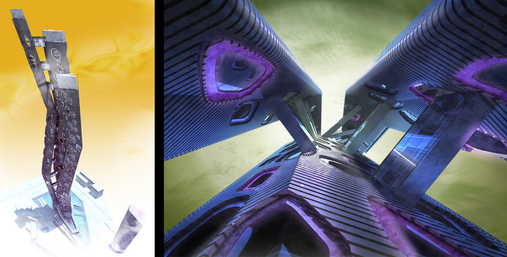 Project: Indigo Tower                    Designer:  Ted Givens                     View: full tower shot (left) & looking up from the retaining pool (right)