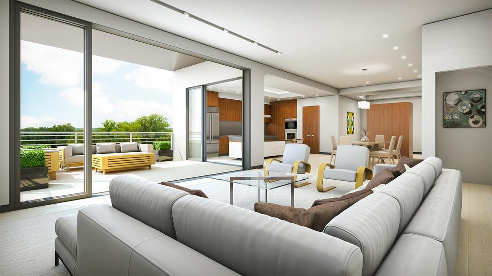 Project: One Shiplock   Architect:  Johannas Design Group    Developer: Muchos Gusto Enterprises   View: 6th Floor Living Space