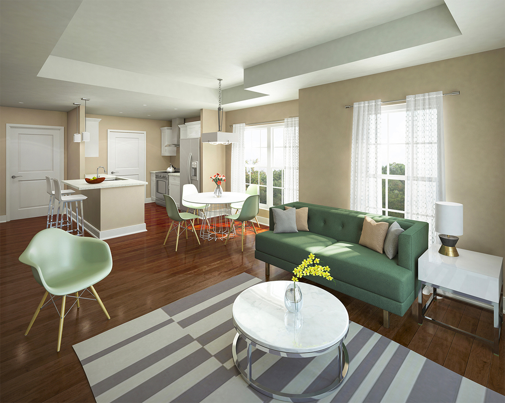 Project: Carytown Crossing   Architect:  Commonwealth Architects    Developer: Oliver Properties   View: Apartment Interior 01