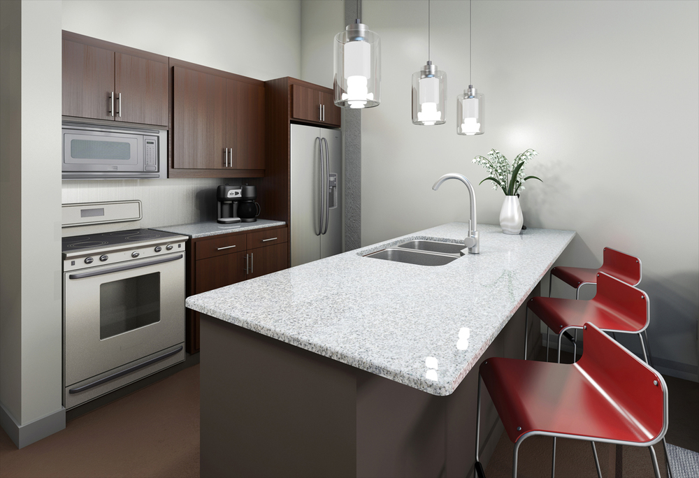 Project: Scott's Edge Apartments   Architect:  Walter Parks Architects    View: Unit Rendering 2 (Kitchen Area)
