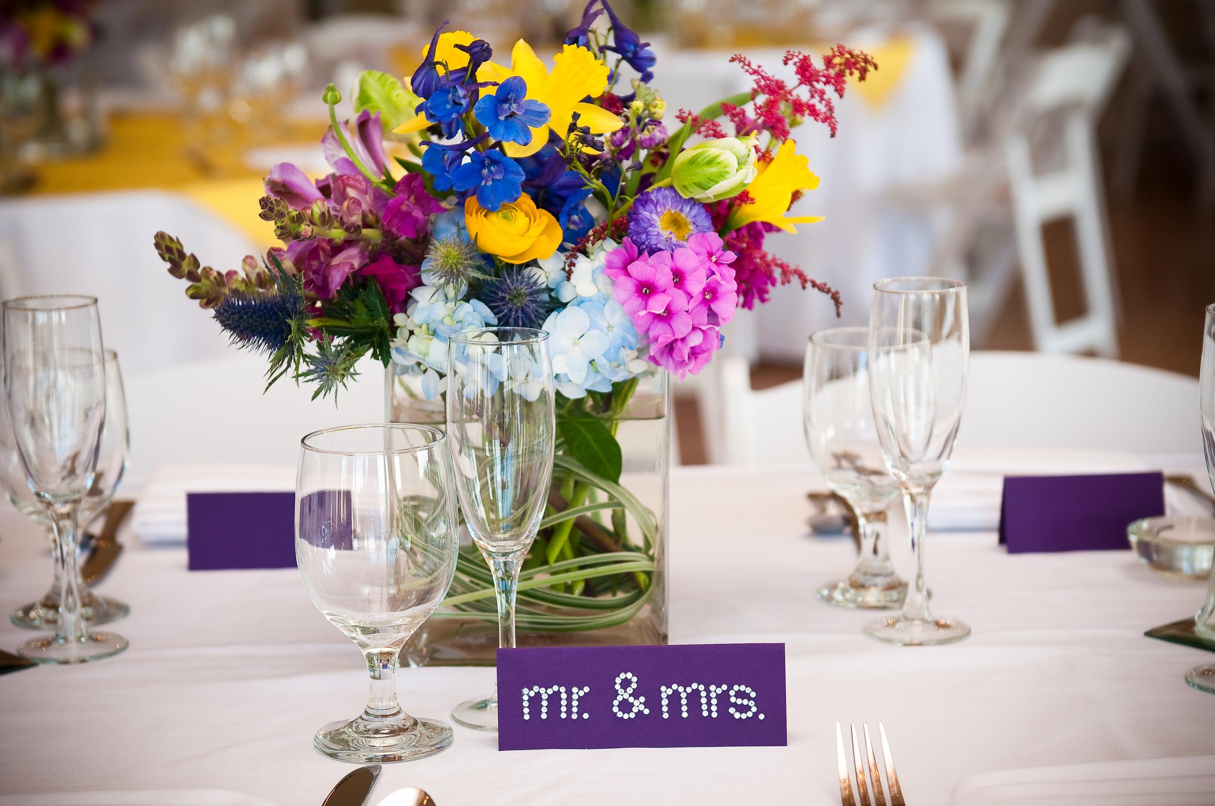 Wedding Centerpieces Mr. & Mrs. Sign Vintage Villas Loose Wildflowers