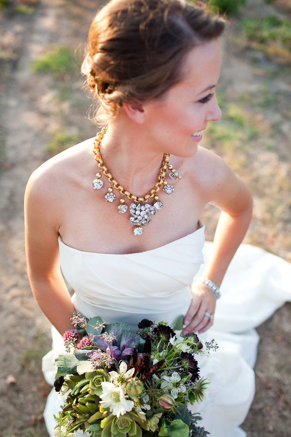 strapless wedding dress, statement necklace, petal pushers, style me pretty