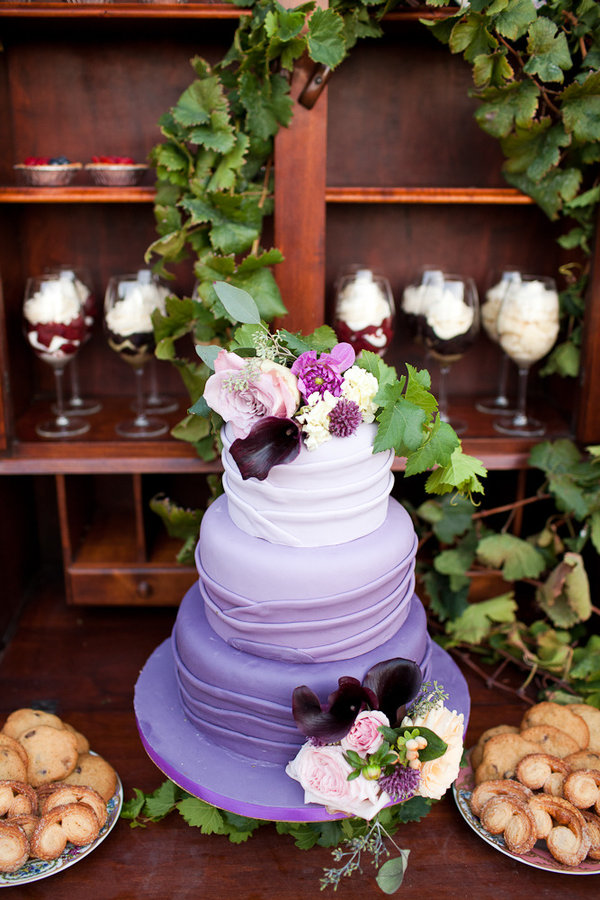 purple cake, purple wedding, rustic wedding, style me pretty, ombre cake, petal pushers