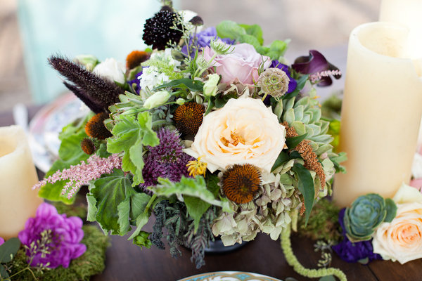 centerpiece, natural, winery, green flowers, purple majesty, eggplant scabiosa