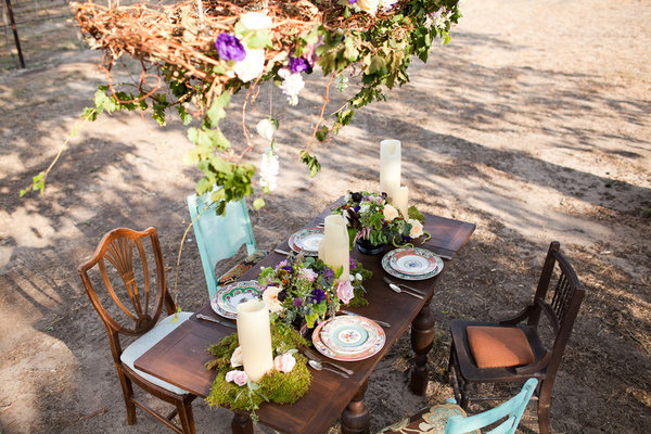 vintage chairs, outdoor wedding, teal chairs, petal pushers, style me pretty, greenery, wedding