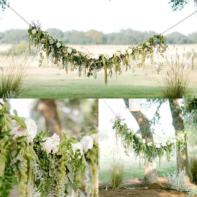 This floral swag is so dreamy 🌚✨🌿#organicwedding #hillcountrywedding #weddingflowers #wedding #flowers #soloverly
