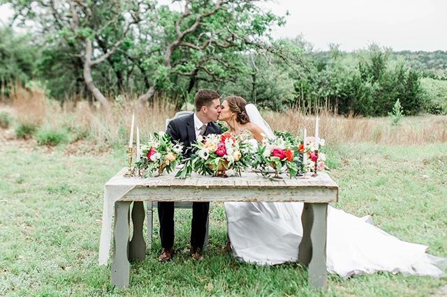 Throwing it back this Thursday with C + T's GORGEOUS after-wedding styled photo session 🌿⛈📸 A thunderstorm may have put the kibosh on getting some of the portrait photos they wanted, but these two definitely didn't let it dampen their wedding day! #tbt #soloverly #hillcountrywedding #bliss #bridesofaustin #austinbride #weddingflowers #bridestory