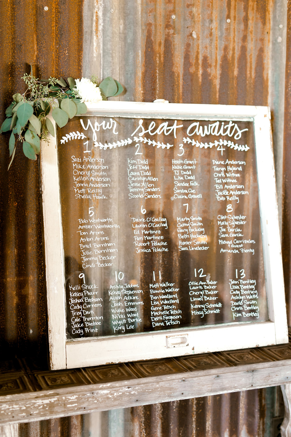 Petal Pushers is a premier wedding & special event florist located just outside of Austin in Dripping Springs, Texas. Hill Country wedding venue, The Creek Haus, seat assignment wedding inspiration.
