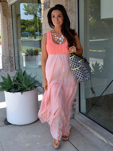 Courtney Mazza in a Liz Lange Maxi Dress