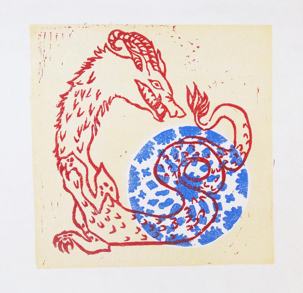 Chartres Dragon, Linoleum Block Print .jpg