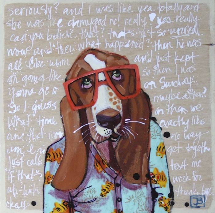 like this guy: 'hipster hound with stellar cardigan'. you can get him as a print, little greeting cards, a  throw pillow  or a  shower curtain !