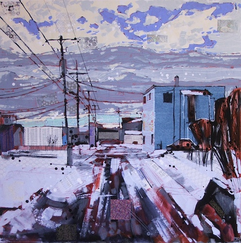 welcome to biggar saskatchewan, mixed media on canvas, 36x36(in), $1620