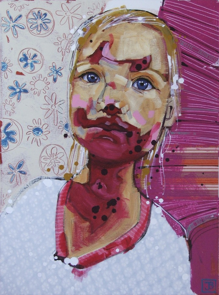 maddie likes lipstick, mixed media on canvas, 12x16(in)