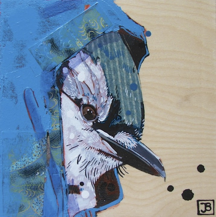 bluejay in a hoodie, mixed media on birch panel, 8x8(in)