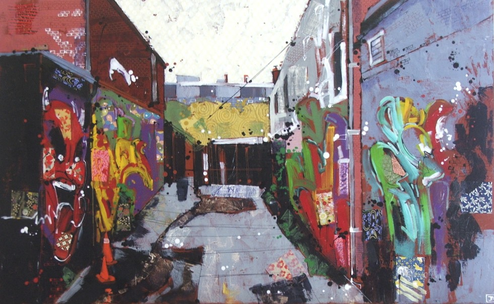 graffiti alley in Kensington Market, TO, mixed media on canvas, 30x48(in)