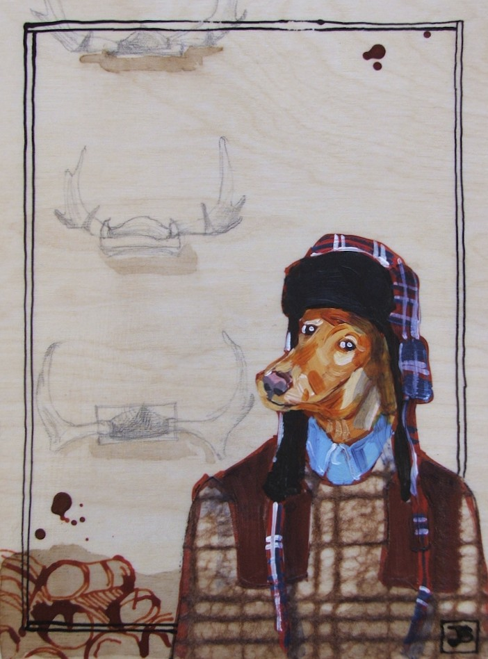 gershwin the hipster trapper, mixed media on birch panel, 8x10 inches