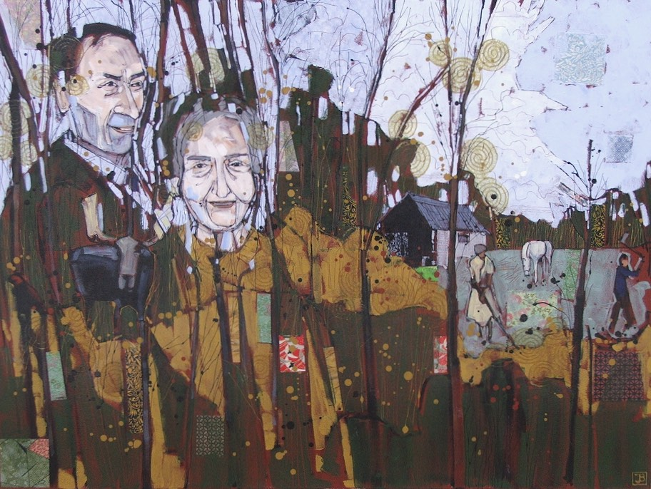 a family history, mixed media on canvas, 30x40 (in), commission