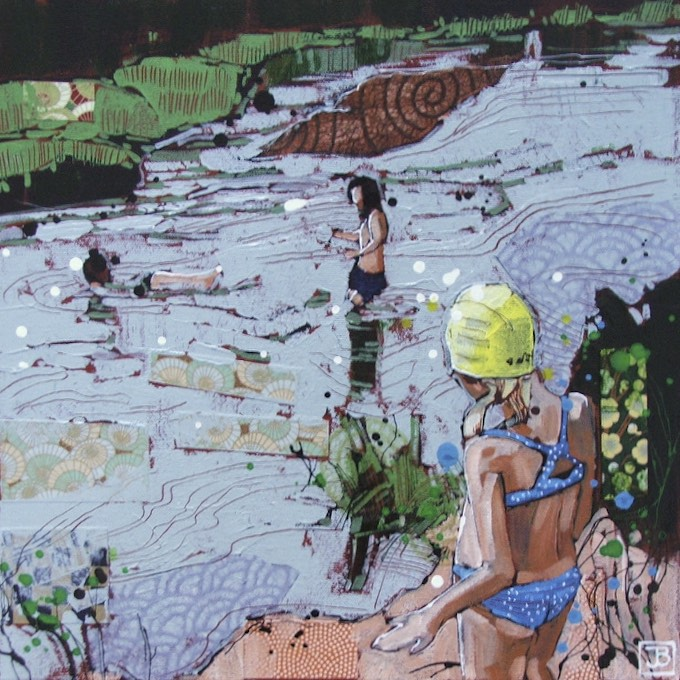 swimmers at the 'Y', Wells BC, mixed media on canvas, 14x14 (in)