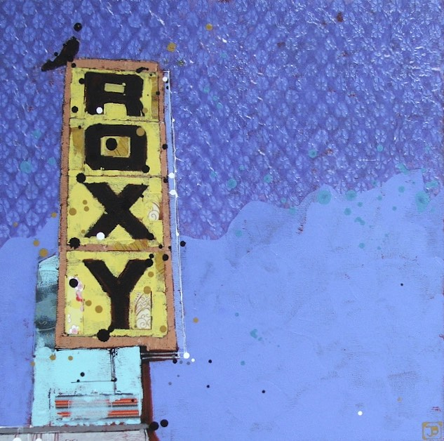the Roxy II, mixed media on canvas, 16x16 (in)