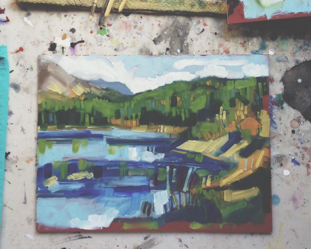 one of the Hidden Lakes, Whitehorse YT, oil on masonite, 9x12, 2015