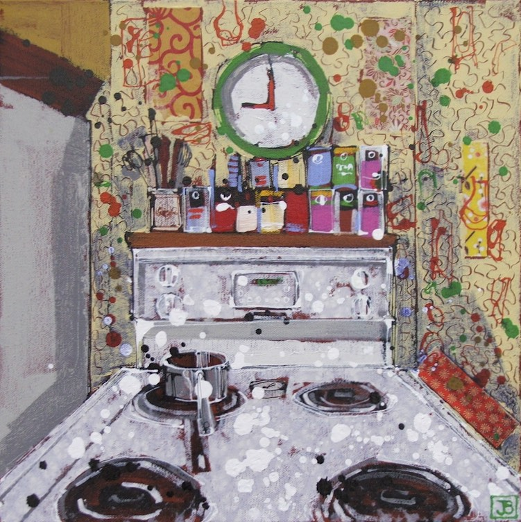 "tea time at Margie's (TO), mixed media on canvas, 14"" x 14"", $300"