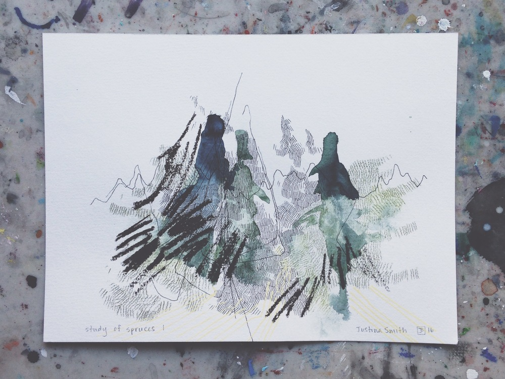 study of spruces I, mixed media on paper, 9x12, $65 + tax
