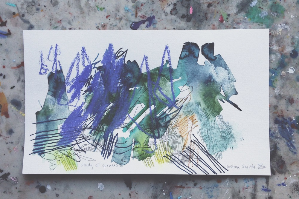study of spruces II, mixed media on paper, 7x12, $50 + tax