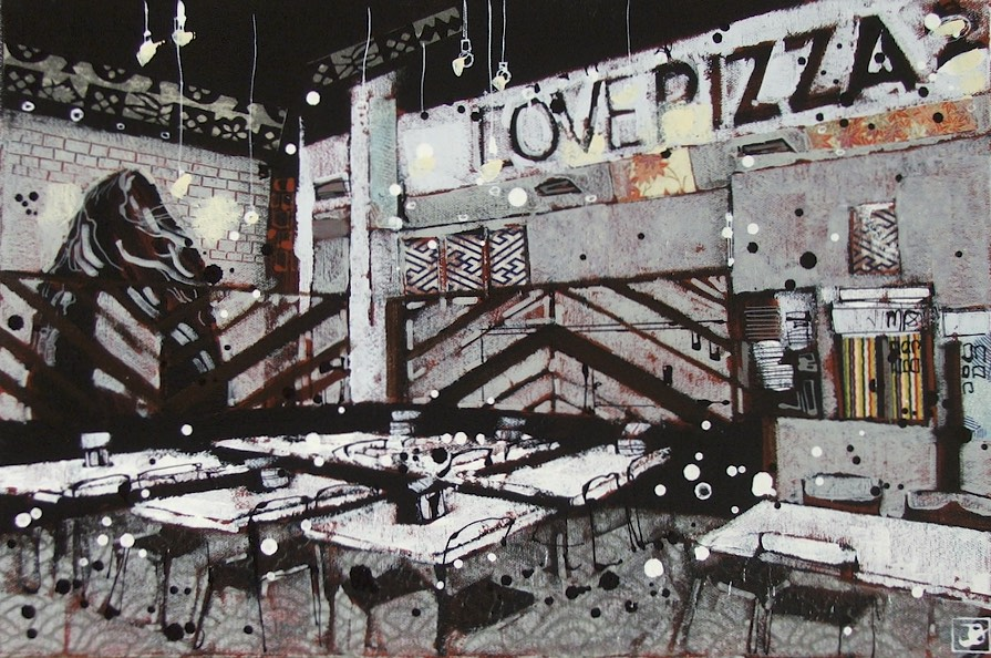 "love pizza, mixed media on canvas, 12"" x 18"", 2016"