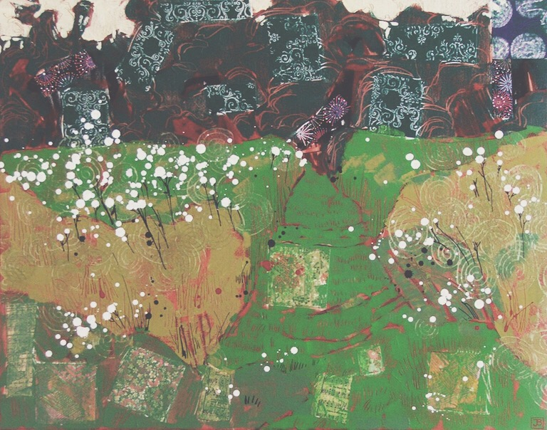 "rodden meadow, frome UK, mixed media on canvas, 22"" x 28"", 2013"