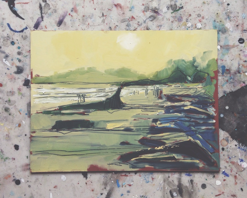 long beach sunset, pacific rim national park reserve, charcoal & oil on masonite, 9x12, 2016