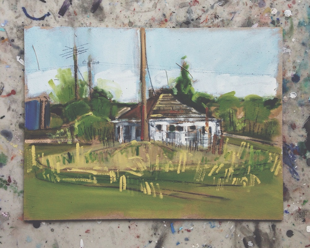 abandoned house, meeting creek ab, oil on masonite, 9x12, $150 + tax, 2016