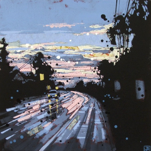 rainy evening in oyster bay, bc, mixed media on canvas, 16x16 (in), $385 + tax, 2016