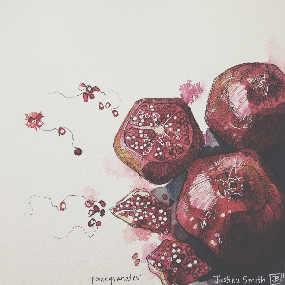 pomegranates, pen & watercolour on cold pressed paper, 8x8(in), SOLD, 2016