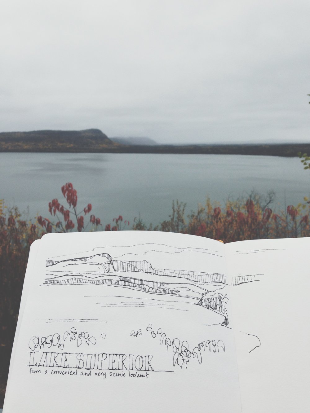 it rained all day when i left Thunder Bay, but held off for about an hour, so i parked at a scenic lookout and made a quick sketch.