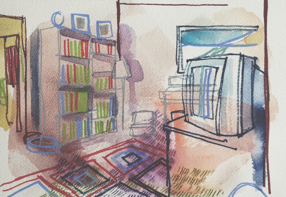 interior of Aunt Margie's place, watercolour, tinted graphite and acrylic on cold pressed paper, 7x10(in), 2016