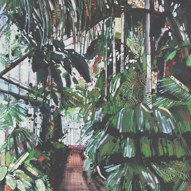 the palm house, mixed media on canvas, 24x24(in), 2016, available at Canvas Gallery in Toronto
