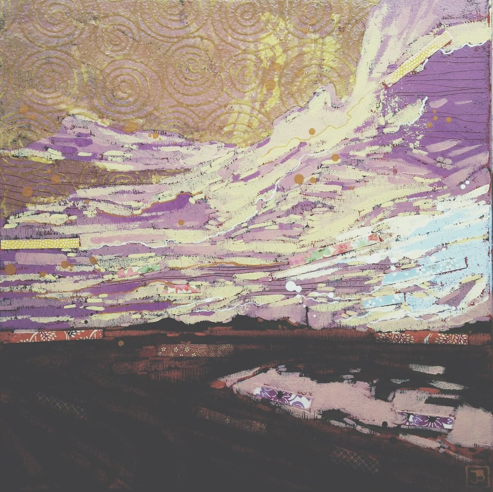 sundown, lanigan saskatchewan II, mixed media on canvas, 16x16(in), $385 + GST, 2016