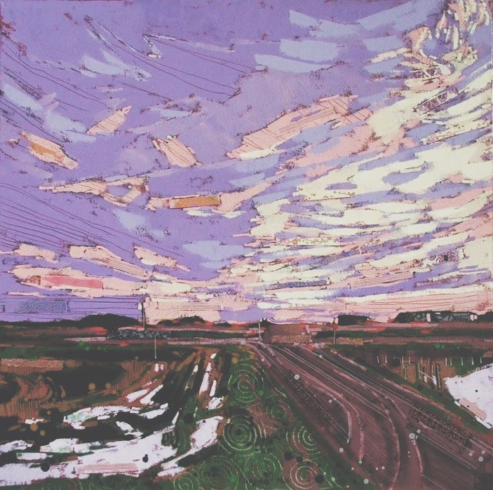sundown, lanigan saskatchewan, mixed media on canvas, 24x24(in), $865 + GST, 2016