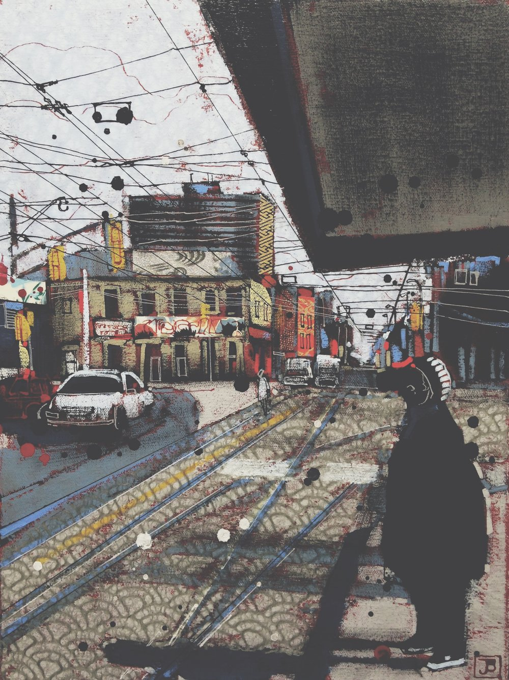 waiting for the queen car (toronto), mixed media on canvas, 12x16(in), $290 + GST, 2017