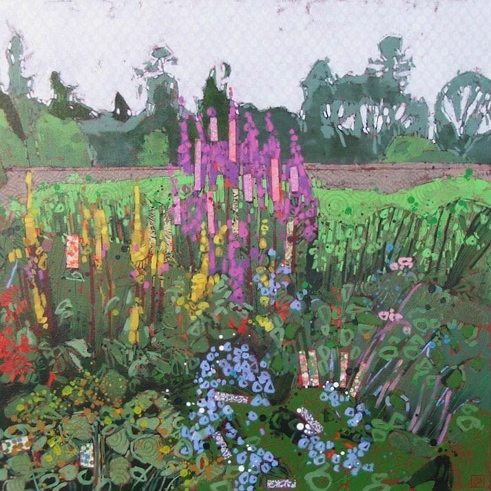 a little bit of chaos (walled garden, castle culzean, scotland), mixed media on canvas, 30x30(in), $1350 + GST, 2017
