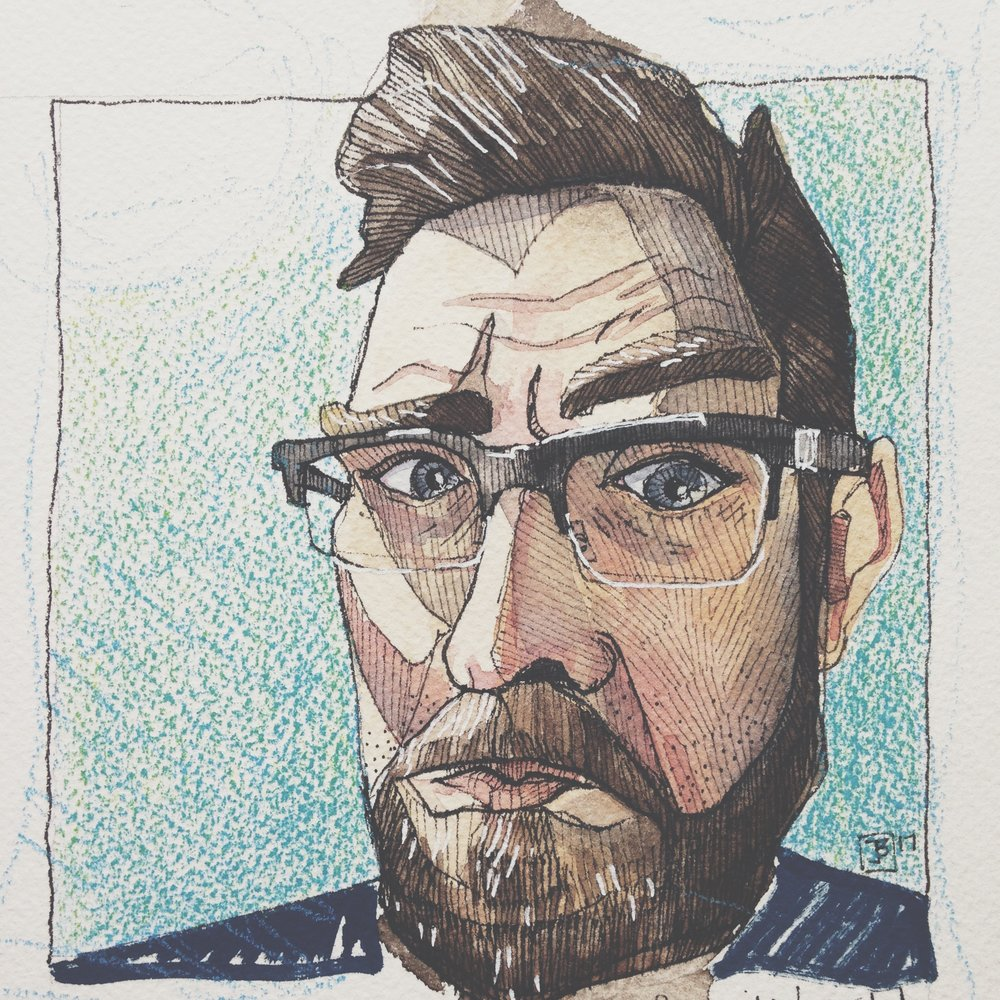 the bearded dude  , pen, watercolour, soft pencil crayons and acrylic paint marker on cold pressed paper, 8x8(in), 2017