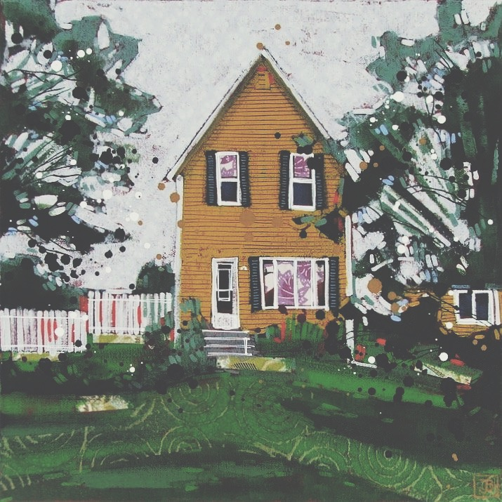 the yellow house, PEI,  mixed media on canvas, 14x14(in),  SOLD ,    2017