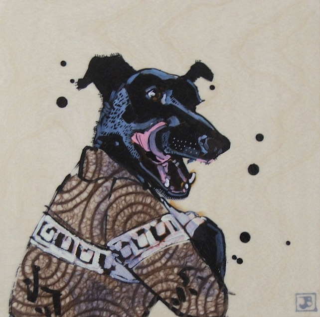 luke, mixed media on wood panel   this is the lovely dog i adopted from SCARS. on my Instagram account you can see his adventures if you search for the hashtag  #elusivelukestagram
