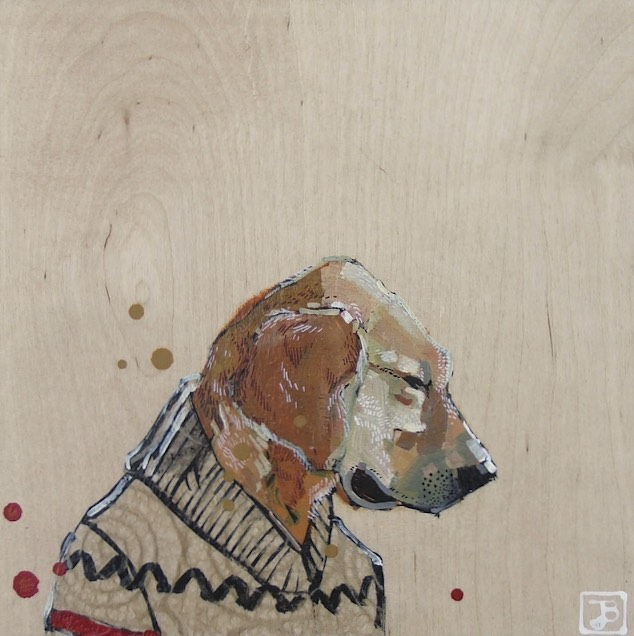 coltrane, mixed media on wood panel this is our lovely now three-year-old female golden retriever. you can see her adventures on Instagram by searching for the hashtag #coltranegrams